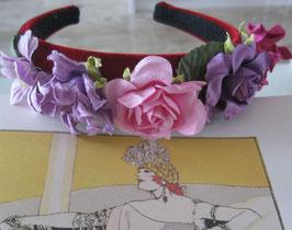 Lila-Rosa Blumen-Haarreif