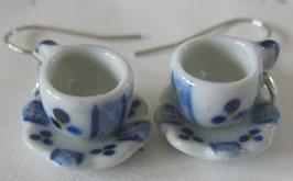 Kaffeetassen blau/weiß