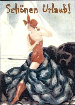 """Lady im roten Badeanzug """"Schönen Urlaub"""""""