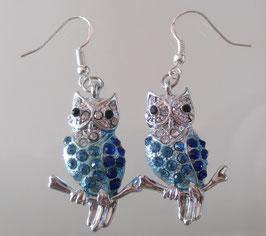 Blaue Glitzereulen-Ohrringe