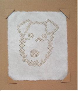 和紙の切り絵 いぬ大好きです。