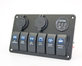 6 gang switch panel, with 12V power socket, voltmeter and 2.1A dual USB charger, blue LED