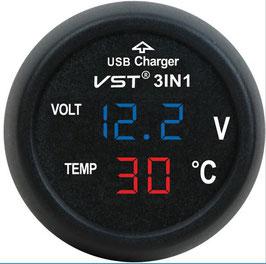 3 in 1 VST-706 Digital LED car Voltmeter Thermometer Auto Car USB Charger 12V/24V Cigarette Lighter