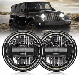LED Headlights 'KING KONG JL-Style' with DRL for Wrangler JK/JKU/TJ (pair)