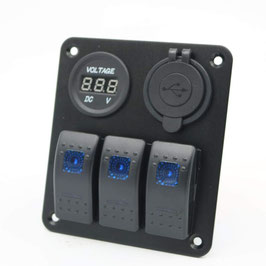 3 Gang switch panel, with voltmeter and 3.1A dual USB charger, blue LED
