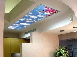 Rahmenkonstruktion - 3.60m x1.80m / Set 8 Stück Einbaurahmen / LED Sky-Panels - geeignet für Gipskarton- & Deckenausschnitte aus weiß lackiertem Aluminium