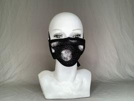 Behelfsmaske / Gesichtsmaske schwarz weiß silbern Mond