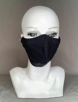 Alltagsmaske / Gesichtsmaske runde Form, schwarz/grau gestreift