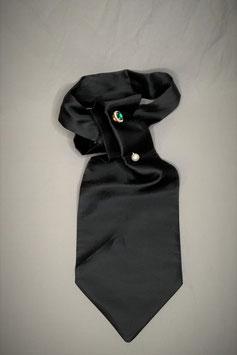 Plastron / Day Cravat, schwar,z Seide, ohne abgebildete Krawattennnadel