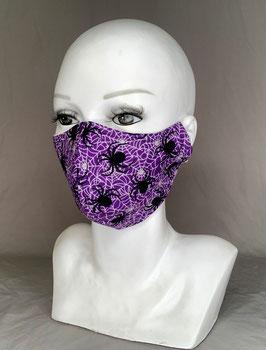 Alltagsmaske / Gesichtsmaske runde Form, lila mit weißen Spinnweben und schwarzen Spinnen