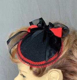 Fascinator schwarz / rot