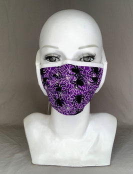 Alltagsmaske / Gesichtsmaske lila mit weißen Spinnweben und schwarzen Spinnen Bänder zum Binden