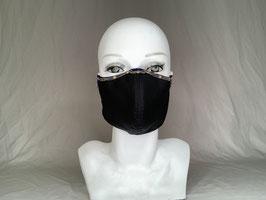 Mata Hari  Alltagsmaske / Gesichtsmaske runde Form, schwarz mit Metallborte goldfarben/blau und glauem Glasstein