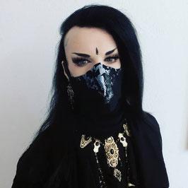 Behelfsmaske / Gesichtsmaske Fledermäuse schwarz weiß grau, runde Form