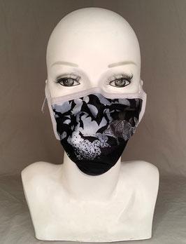 Alltagsmaske / Gesichtsmaske Fledermäuse schwarz weiß grau, Bänder zum Binden