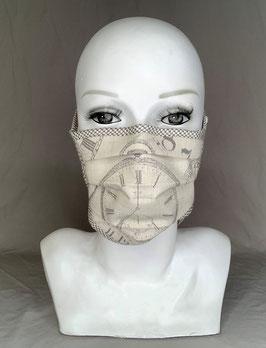 Alltagsmaske / Gesichtsmaske beige schwarz Uhrenmotiv mit Bindeband