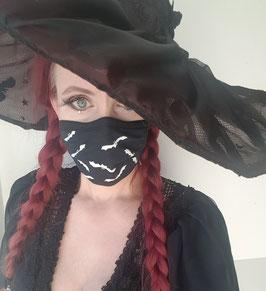 Behelfsmaske / Gesichtsmaske schwarz/weiß Fledermäuse