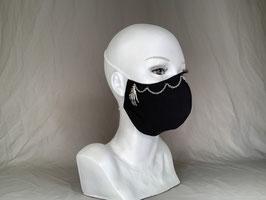 Eiskaltes Händchen Alltagsmaske / Gesichtsmaske runde Form, schwarz