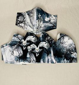 Alltagsmaske / Gesichtsmaske runde Form, schwarz/weiß/grau Friedhof Eule
