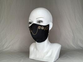 Sew some gears on it and call it steampunk Alltagsmaske / Gesichtsmaske runde Form, schwarz