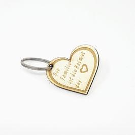Schlüssel Anhänger Herz aus Holz mit Gravur (Familie ist die Heimat des Herzens )