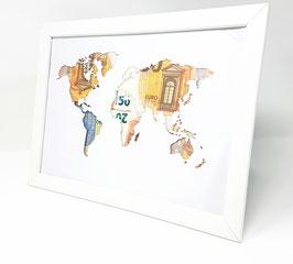 Foto Rahmen mit gelaserter Weltkarte aus Papier als Geldgeschenk