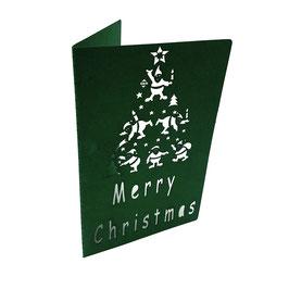 Weihnachts Grußkarte  Merry Christmas Lasercut