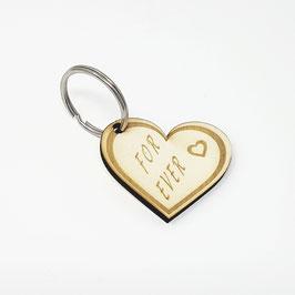 Schlüssel Anhänger Herz aus Holz mit Gravur (For Ever)