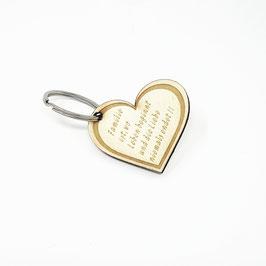 Schlüssel Anhänger Herz aus Holz mit Gravur (Familie ist wo das Leben beginnt und die Liebe niemals endet)
