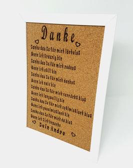 Bilder Rahmen ( Pinnwand ) mit Spruch DANKE Liebeserklärung  & personalisiertem Wunsch Namen aus Kor gelasert