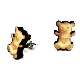 Holz-Ohrringe Teddy Bär Schmuck