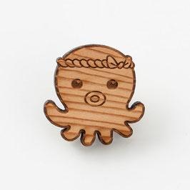 「オクトパス君」木製ピンバッジ