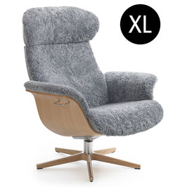 "Conform Relaxsessel ""Timeout"" XL, Eiche lackiert, Eiche-Alufuß, Schaffell"