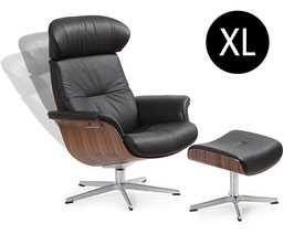"Kombiangebot ""Timeout"" Relaxsessel XL + Hocker in Leder Fantasy, Alufuß, walnuss"