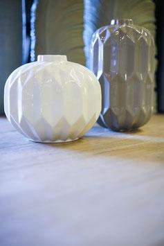 """Vase """"Geom"""" weiß und grau"""