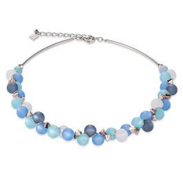 Halskette Polaris, Swarovski® Kristalle & Edelstahl türkis-blau