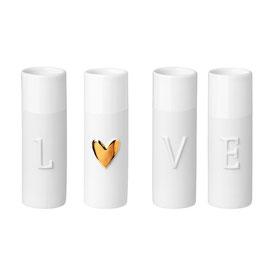 """4er Set Minivasen """"LOVE"""""""
