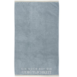 """Handtuch groß """"Gemütlichkeit"""" 80x140cm, blau"""