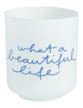 "Poesielicht ""What a beautiful life"" weiß/blau"