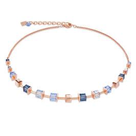 Halskette MonochromeBLUE Swarovski® Kristalle & Edelstahl roségold blau