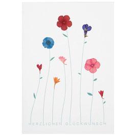"""Herzblütenkarte """"Herzlichen Glückwunsch"""""""