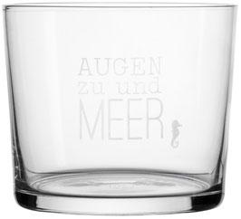 """Wasserglas """"Augen zu und Meer"""""""
