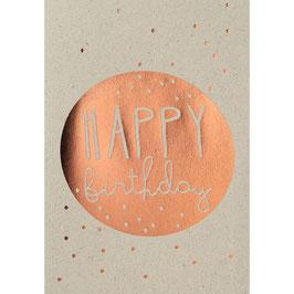 """Geburtstagskarte """"Happy Birthday"""" kupfer"""