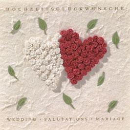 Hochzeitsblüten Karte zwei Rosenherzen