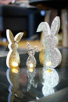 Glitterhase gold mit LED