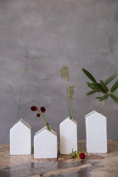 4er Set Häuschenvasen 5,5 cm - 8,5 cm