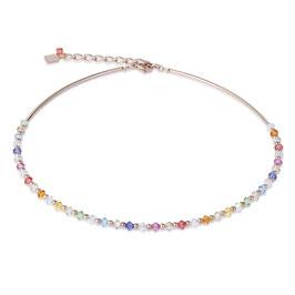 Halskette Swarovski® Kristalle & Edelstahl roségold multicolor pastell 1