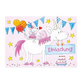 """8 Einladungskarten """"Einhorn"""""""