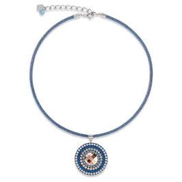Halskette Amulett small Swarovski® Kristalle & Mesh blau