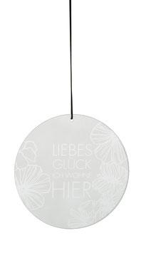 """Glaspoesie hängend """"Liebes Glück"""""""